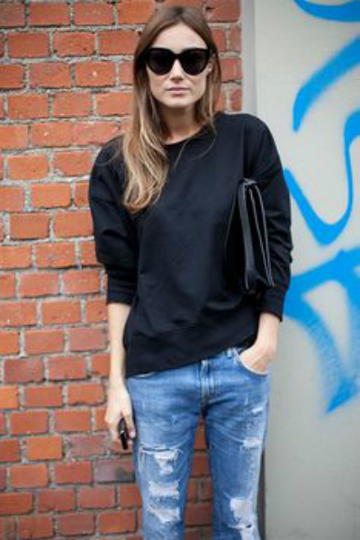 denim and black sweat