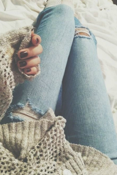 holey knit and torn denim