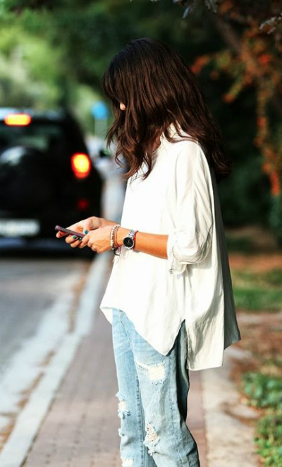oversized shirt and jeans