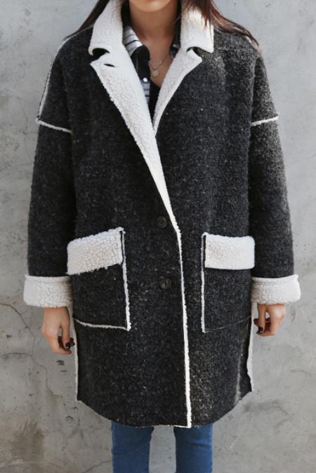 charcoal cream coat