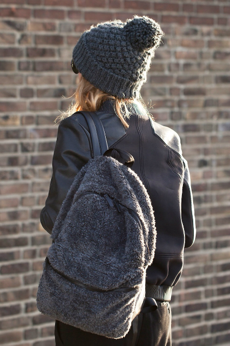 grey beanie and backpack